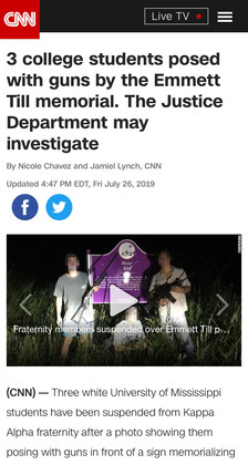 3 college students posed with guns by the Emmett Till memorial. The Justice Department may investigate