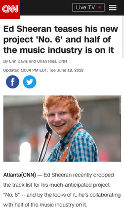 Ed Sheeran teases his new project 'No. 6' and half of the music industry is on it