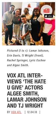 VOX ATL INTERVIEWS 'THE HATE U GIVE' ACTORS ALGEE SMITH, LAMAR JOHNSON AND TJ WRIGHT