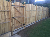 Arch top close board panel fencing with timber posts installed in Bexley Village.