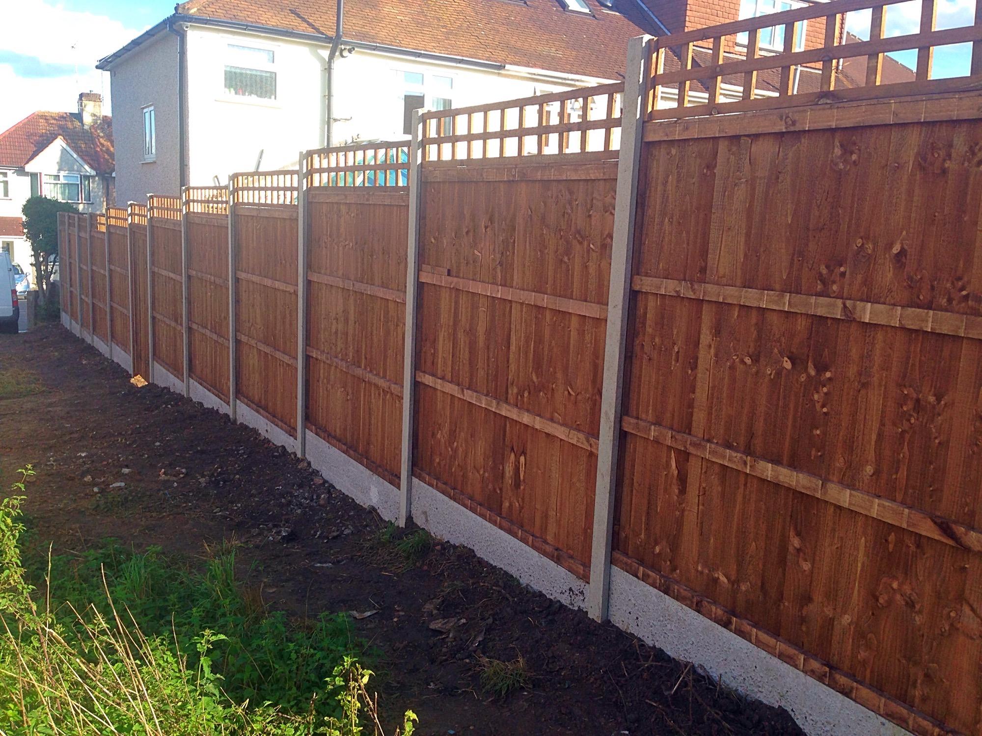 Brown garden fence.