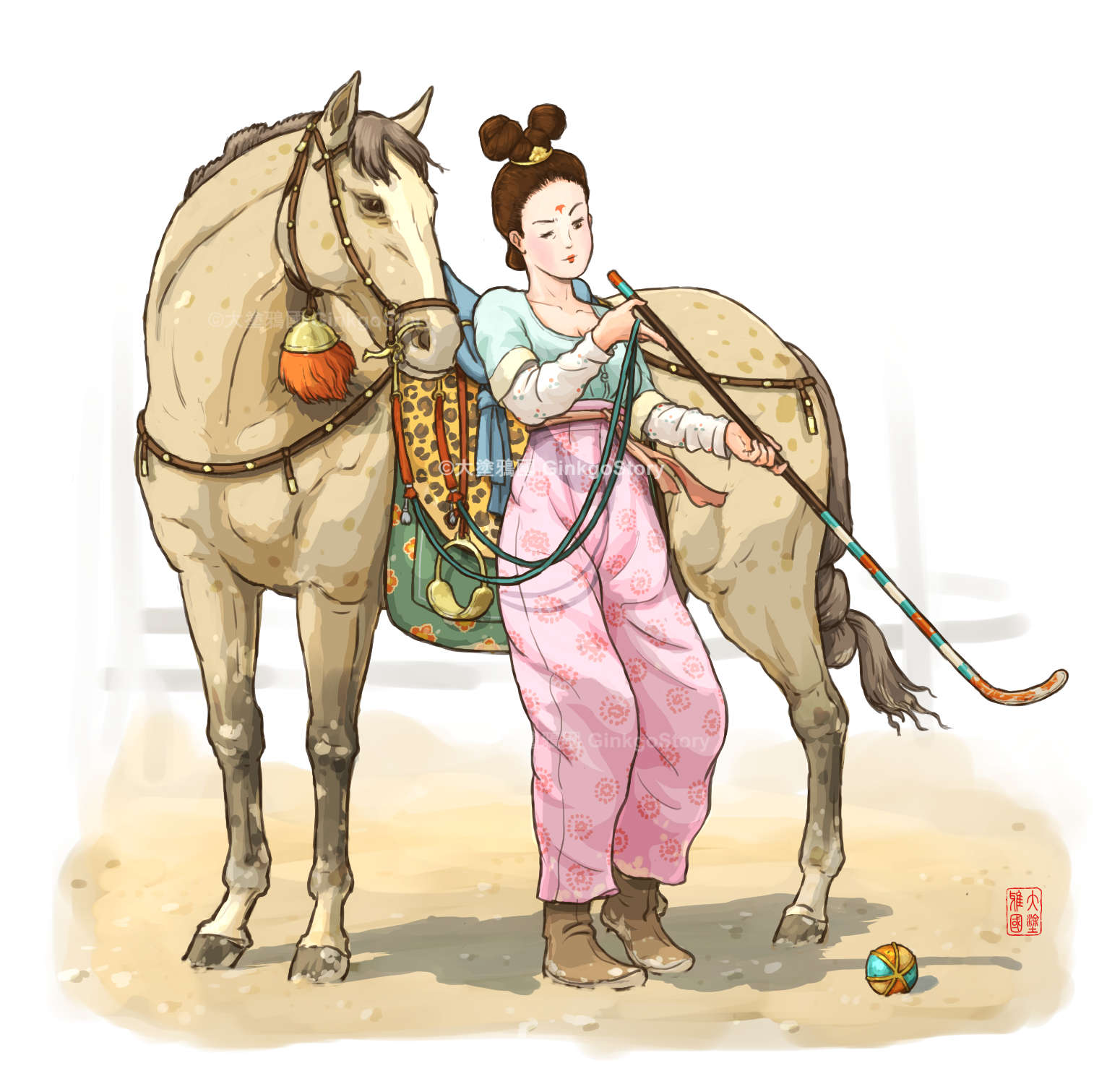 Tang Dynasty Lady Praticing Polo
