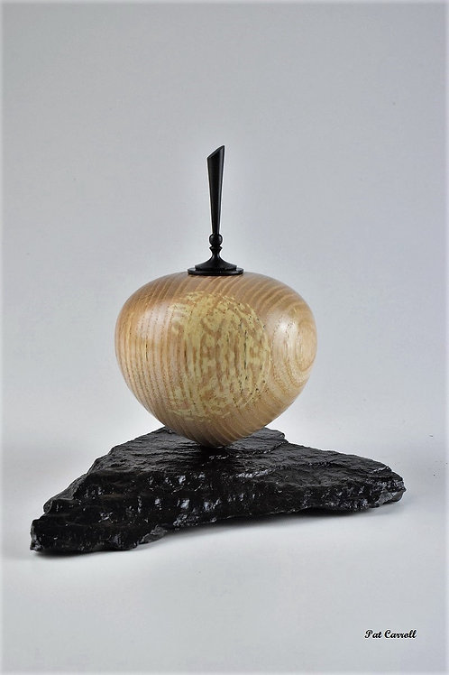 Ash Hollow Form with African Blackwood finial on slate
