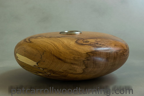 Hollow form with Pewter inset. Spalted Beech.