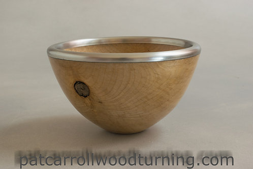 Spalted Beech Bowl with pewter rim.