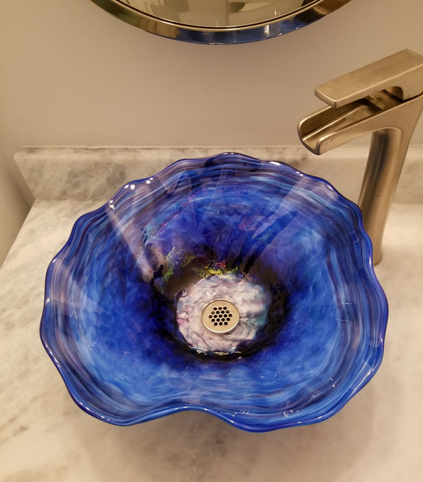 Glass Sink | Glass Vessel Sinks | Glass Bathroom Sink | Blown Glass Sink Bowl | Glass Basin Sink | Glass Blown Sink |