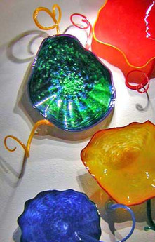 Colorful Hand Blown Glass Wall Plates | Sculptural Glass Wall Art | Glass Wall Flowers | Blown Glass Wall Art
