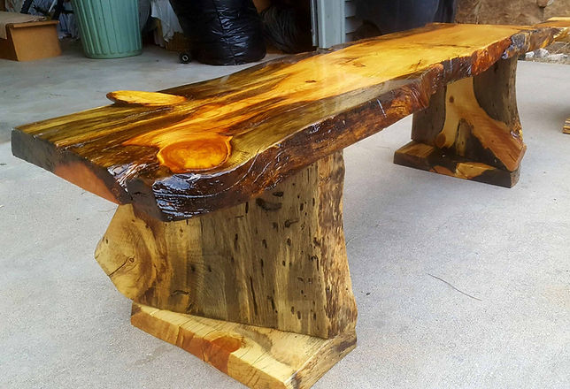 Live Edge Slab Bench | Rustic Bench