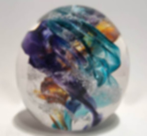 Ash Glass Art, Blown Glass with Ashes