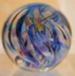 Blown Glass Cremation Art, Cremation Paperweight