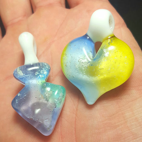 Memorial Glass Pendants | Glass Cremation Jewelry | Glass Heart with Ashes
