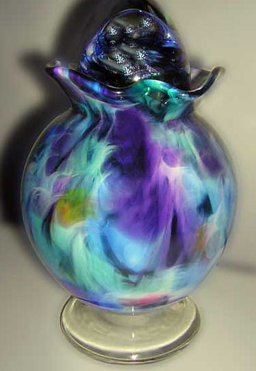 Glass Urn, Blown Glass Urn, Glass Cremation Urn