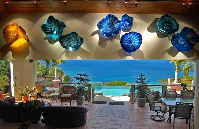 Glass Wall Sculpture, Glass Wall Flowers, Glass Flower Wall Art, Blown Glass Platters