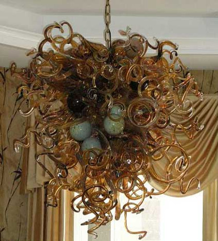 Hand Blown Chandelier | Glass Blown Chandelier | Blown Glass Chandelier | Art Glass Chandelier