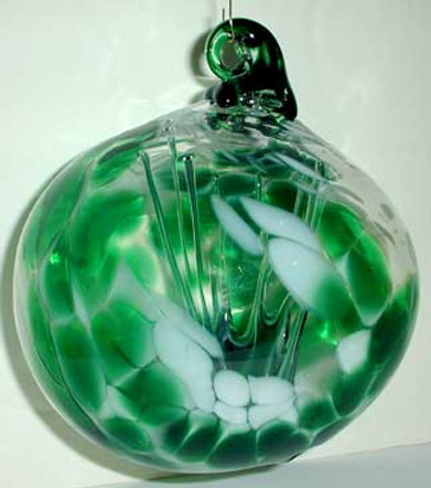 Blown Glass Witch Ball, Hand Blown Glass Witch Ball