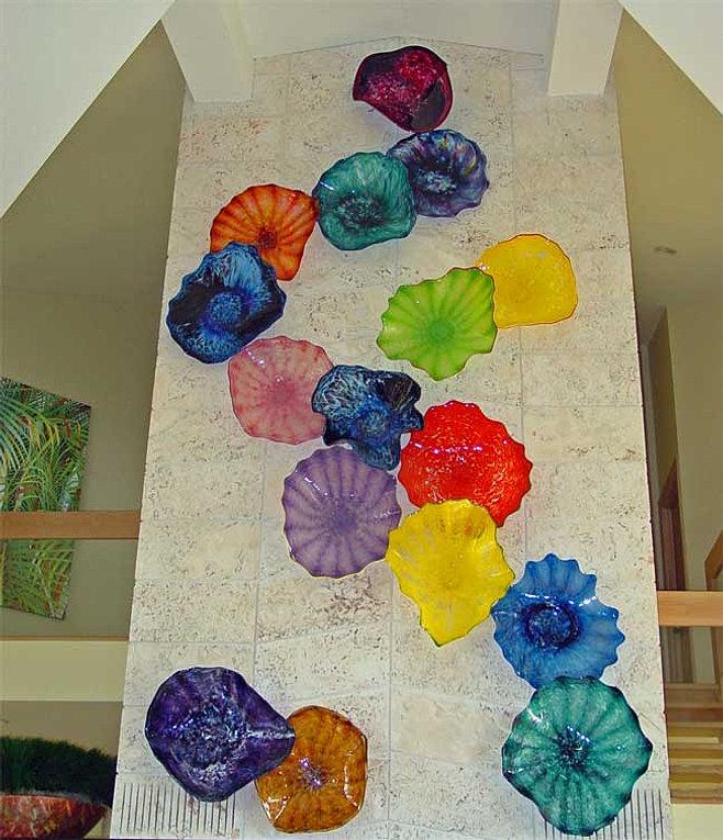 Glass Wall SculpturesArt Glass Wall FlowersHand Blown Platters