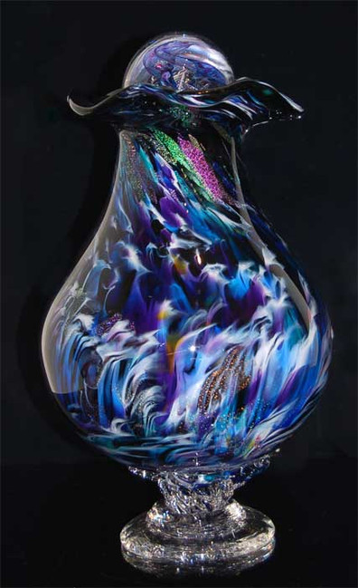 Glass Urn, Blown Glass Urn, Glass Cremation Urn