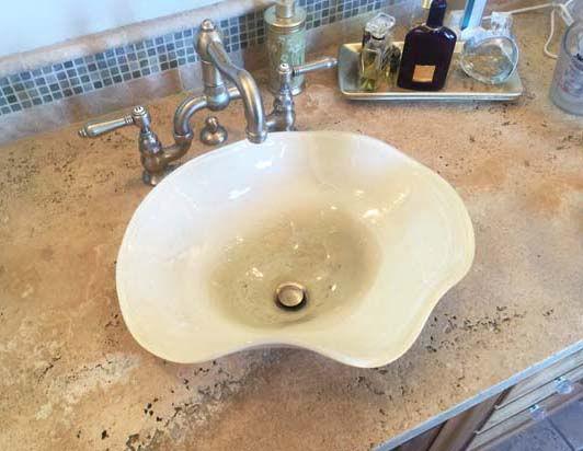"""""""Cream"""" ~ Blown Glass Sink"""