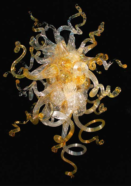 Blown Glass Chandelier, Glass Lighting