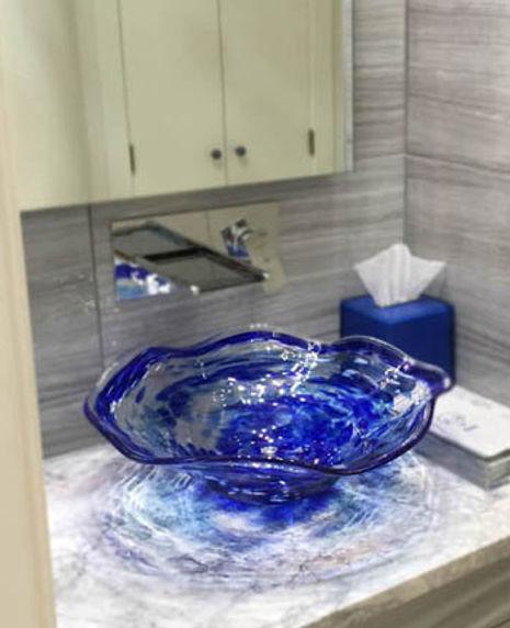 Glass Vessel Bathroom Sink, Glass Basin Sinks, Blown Glass Bathroom Sink