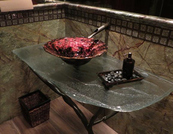 Blown Glass Bathroom Sink, Glass Basin Sinks, Art Glass Vessel Sink