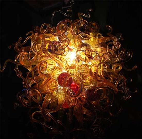 Blown Glass Chandelier, Art Glass Lighting