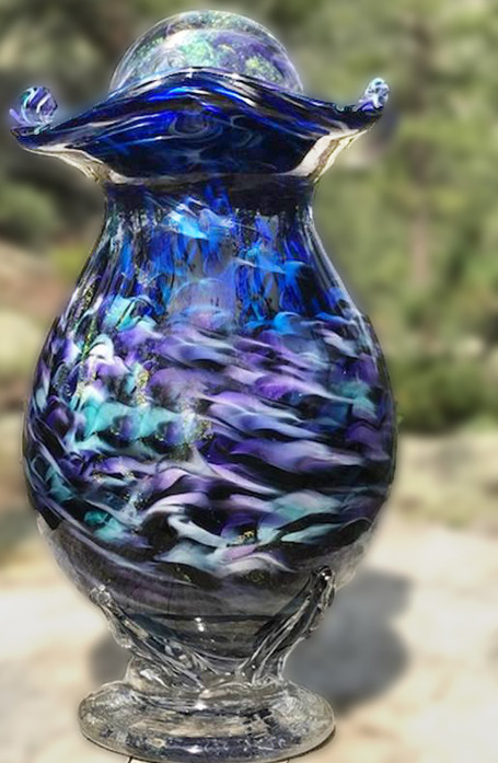 Glass Urn, Blown Glass Urn
