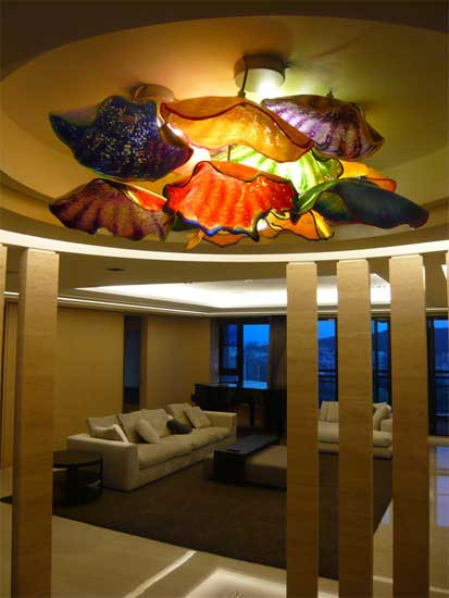 Blown Glass Ceiling Lighting, Glass Pendant Lights