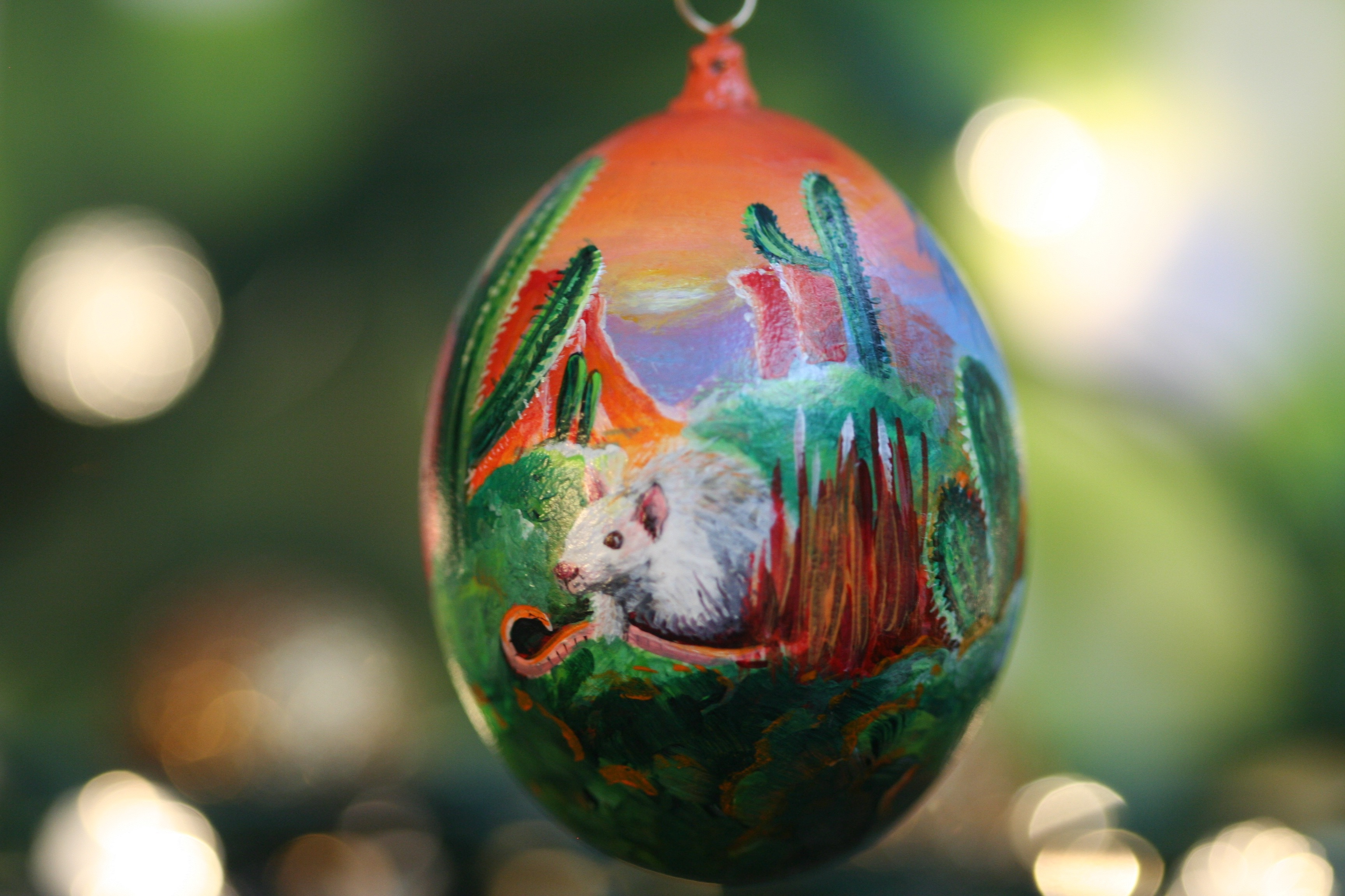 Rat with Cactus and Sunset Ornament