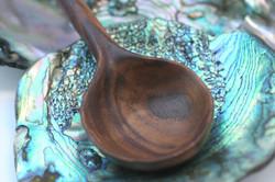 Walnut spoon with abalone