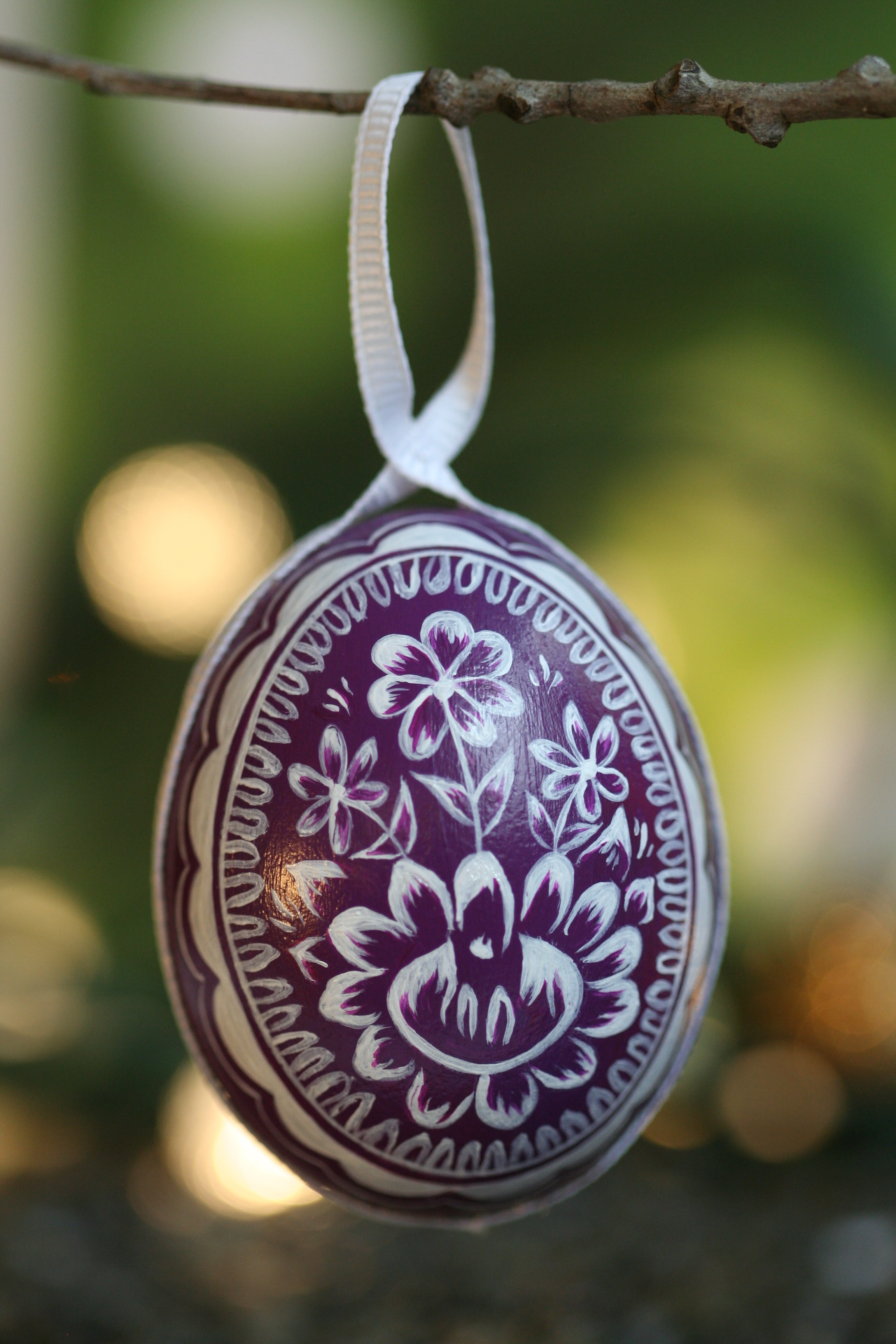 Purple and White Ornament