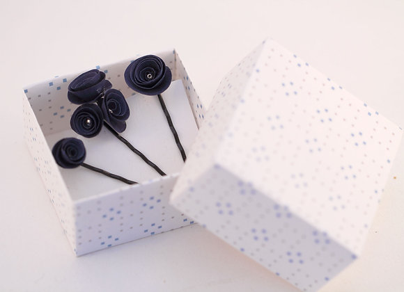 TROIS BOBBY PINS ROSES bleues nuit