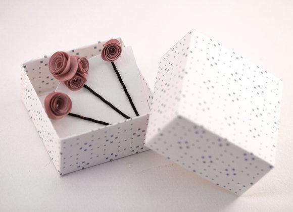 TROIS BOBBY PINS ROSES roses