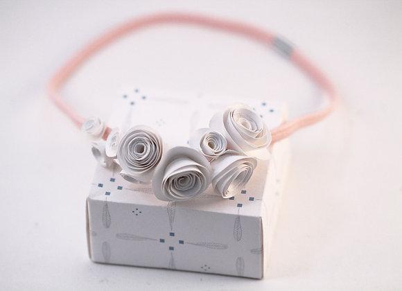 HEADBAND ROSES blanches