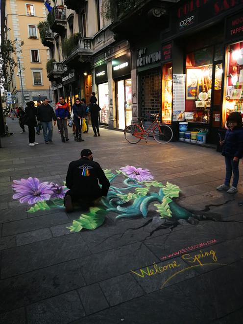 Chalks on floor, Welcome Spring,2019