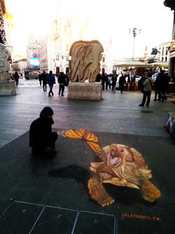 chalks on floor