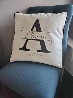 HTV monogram pillow