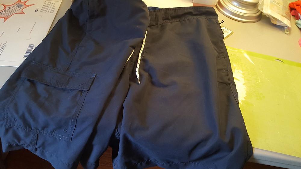 Navy blue polyester mens swim trunks
