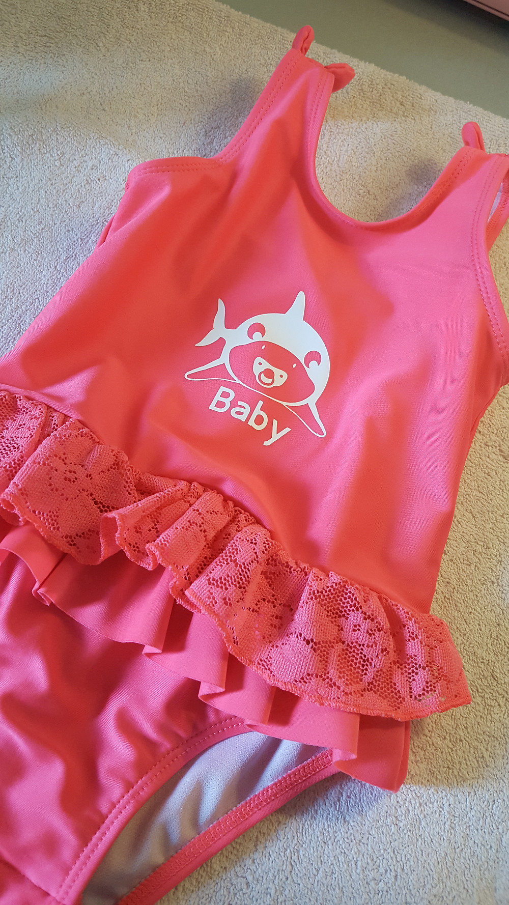 Pink polyester little girls swim suit with Ovation Crafts HTV Baby Shark