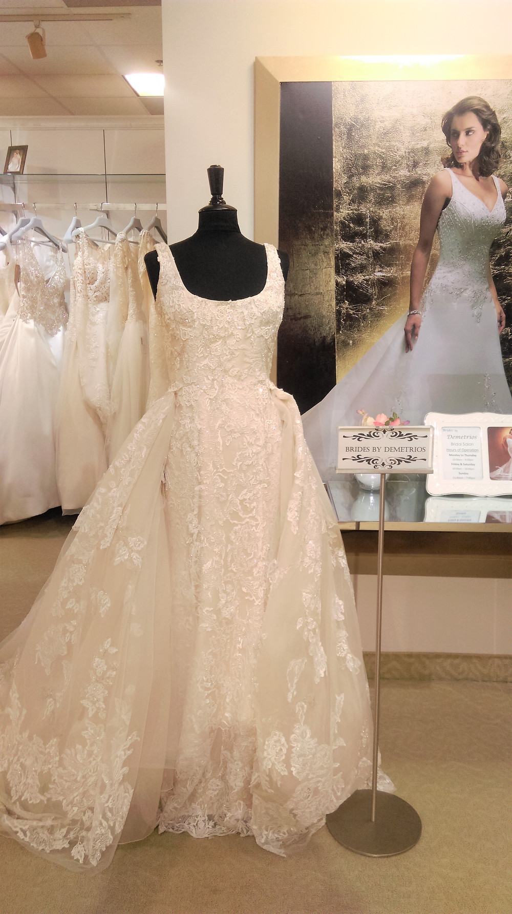 wedding gown in boutique