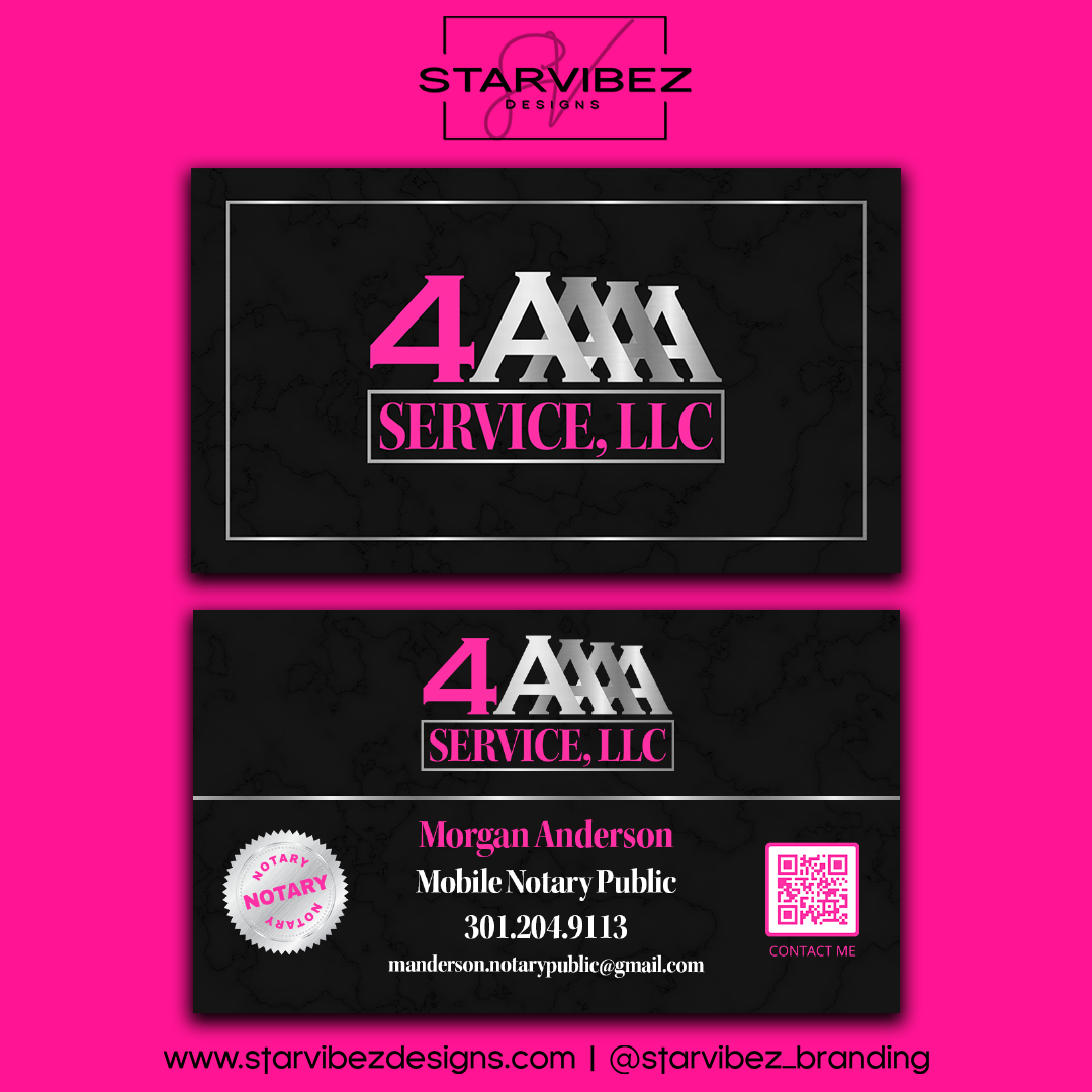 4A Service LLC Business Card Mock Up
