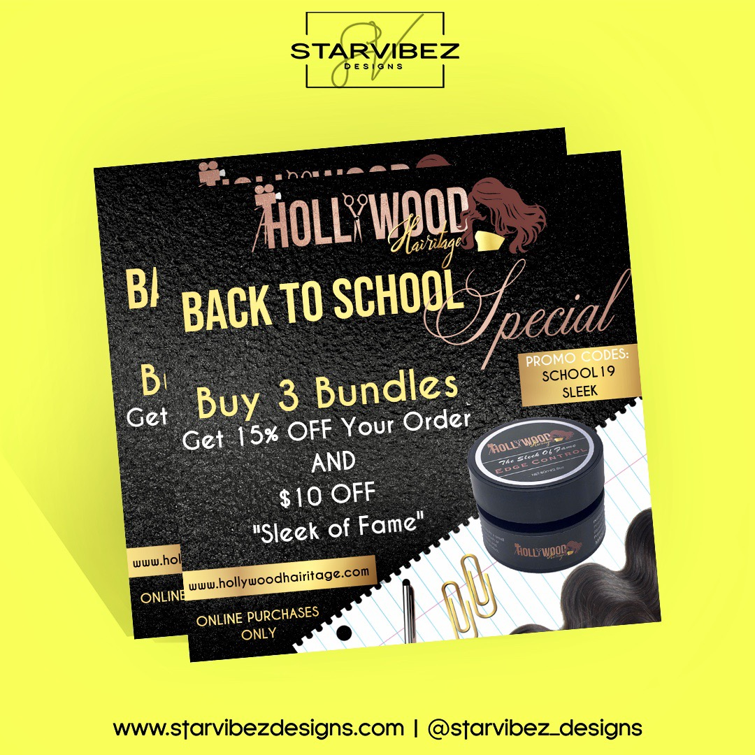 hollywood hairitage back to school flyer
