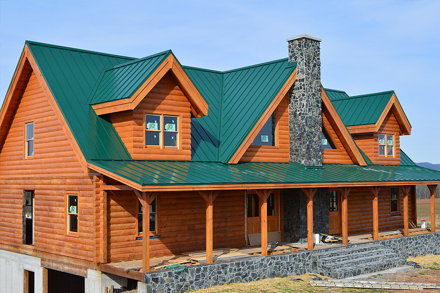 Standing Seam Metal Roof Cabin Forest Green