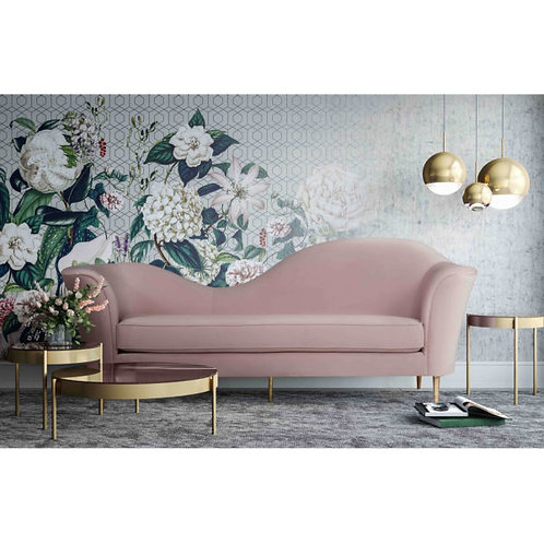 Plato Blush Velvet Sofa