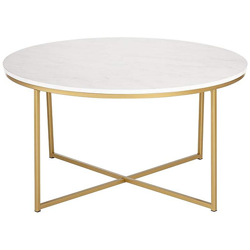 Aurelia Faux Marble and Gold Modern Coffee Table