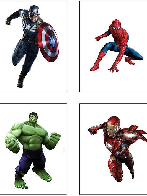 Superheroes Spiderman Art Painting Superhero Avengers and Hulk Art Prints Set of