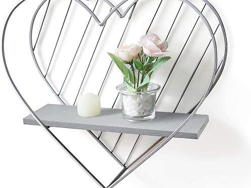 Afuly Rustic Floating Shelf Grey Shelves for Wall Metal Heart Cute Decor Silver