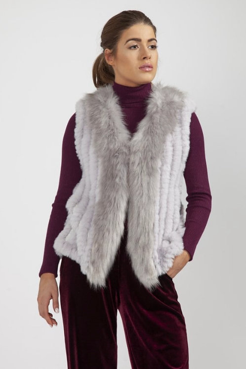 JAYLEY Faux Suede and Knitted Faux Fur Gilet In grey