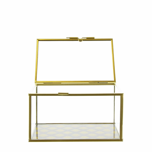 Glass Jewellery Box with Fan Design Gold