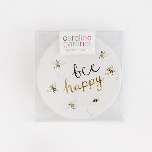 Bee Happy Pocket Compact Mirror